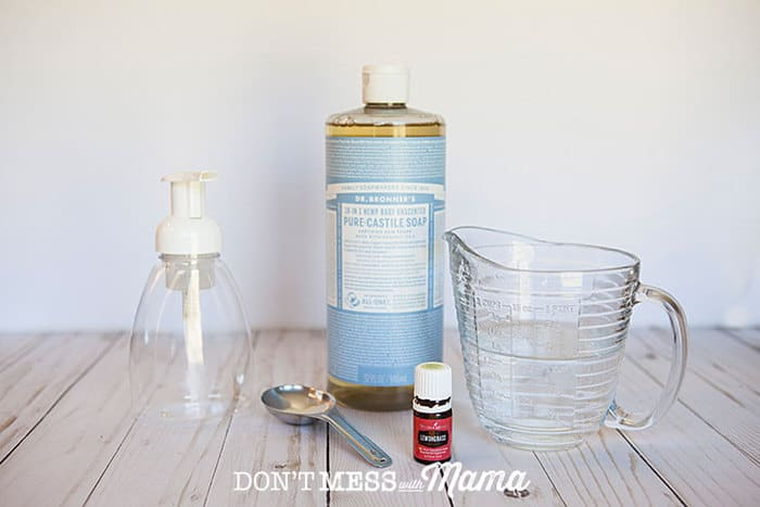 Ingredients to make foaming hand soap