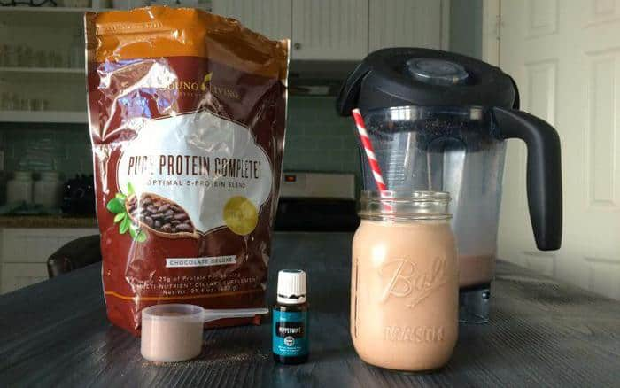 Ingredients for a Chocolate Protein Smoothie on a work surface