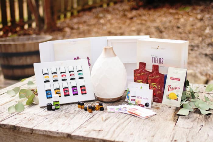 essential oils and a diffuser outside on a table