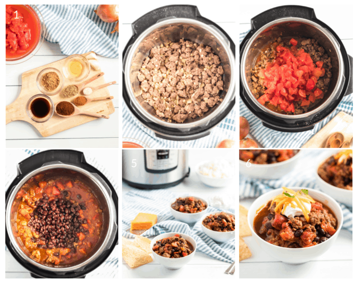 Step by step tutorial in photos on how to make beef chili in the Instant Pot