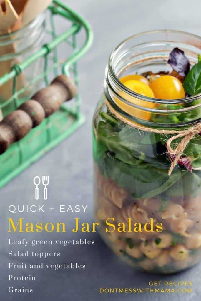 An image giving ingredients for making salads in mason jars