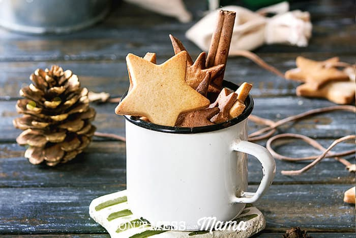 Closeup of shortbread cookies in a mug with a pinecone in the background