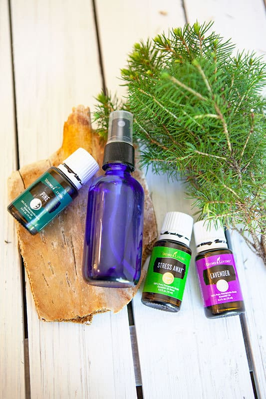 Closeup of glass spray bottle with bottles of pine, lavender and stress away essential oils with a sprig of pine in the background