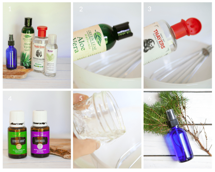 Step-by-step tutorial with 6 photos showing how to make DIY Aftershave Spray