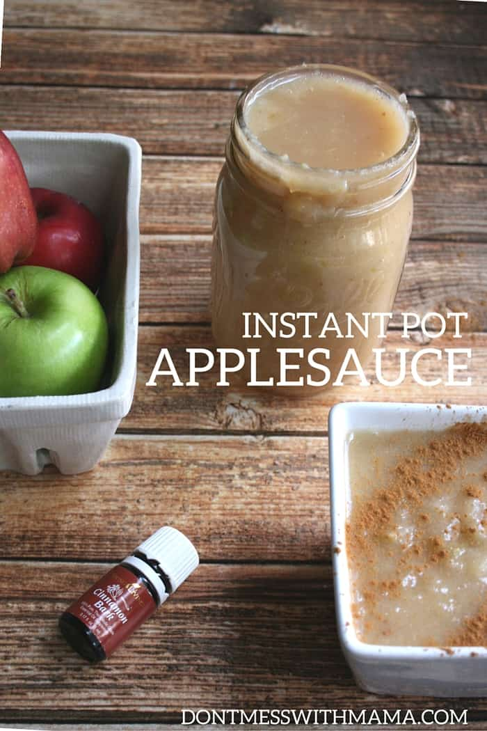 Make this Instant Pot Applesauce in less than 20 minutes without any added sugar. Be sure to make a big batch and save it in the refrigerator. The kids will love it. dontmesswithmama.com #applesauce #instantpotrecipe #easyrecipe #dontmesswithmama