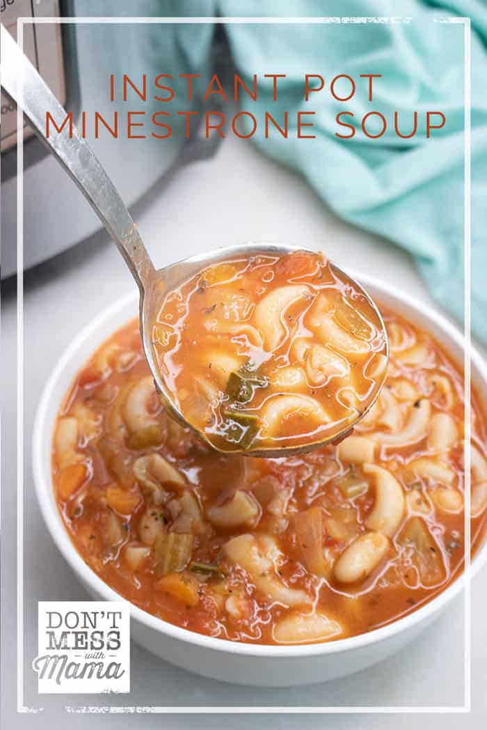 Craving a hearty soup? Get this Instant Pot Minestrone Soup recipe on the table in less than 20 minutes from start to finish. Gluten free and vegan option.