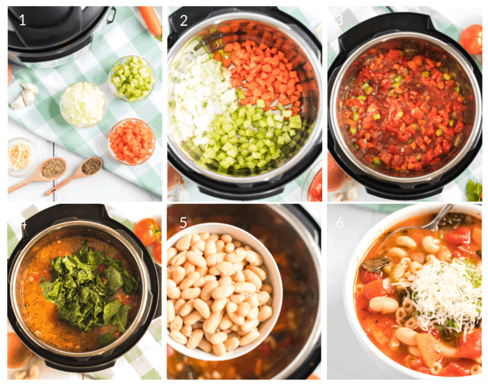 Process steps for Instant Pot Minestrone Soup