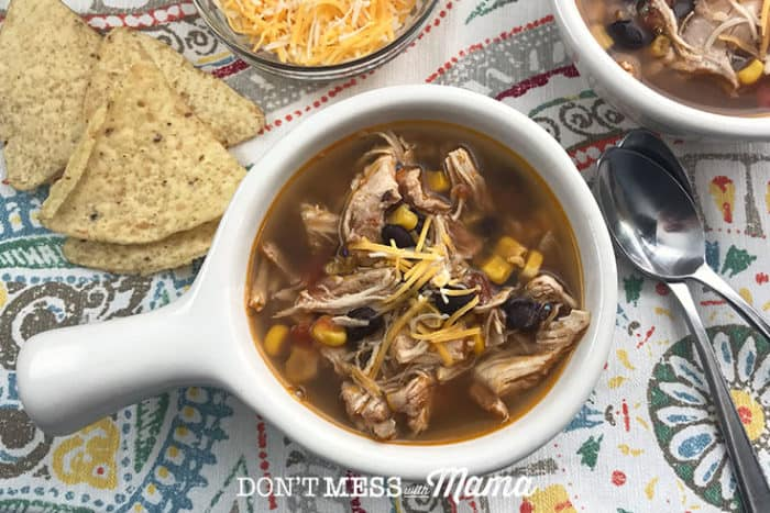 white bowl of instant pot chicken tortilla soup