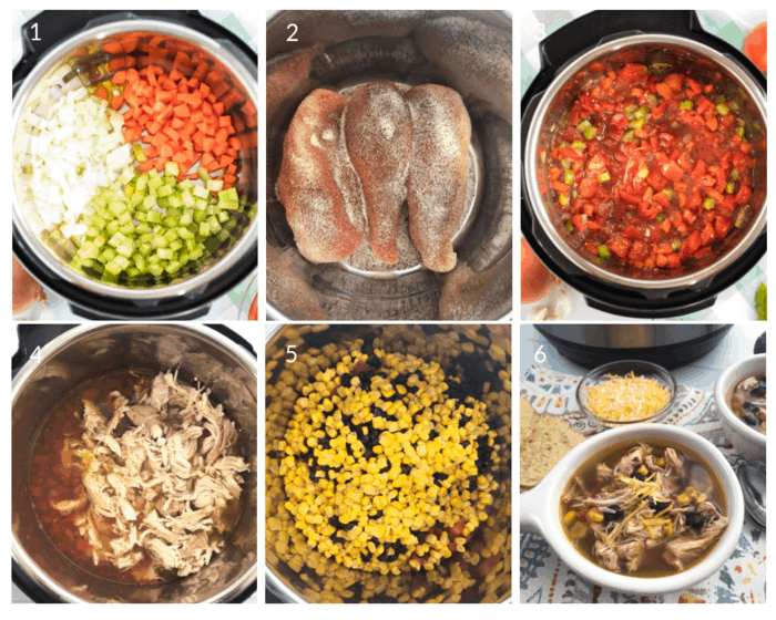 Process shots for making Instant Pot Chicken Tortilla Soup