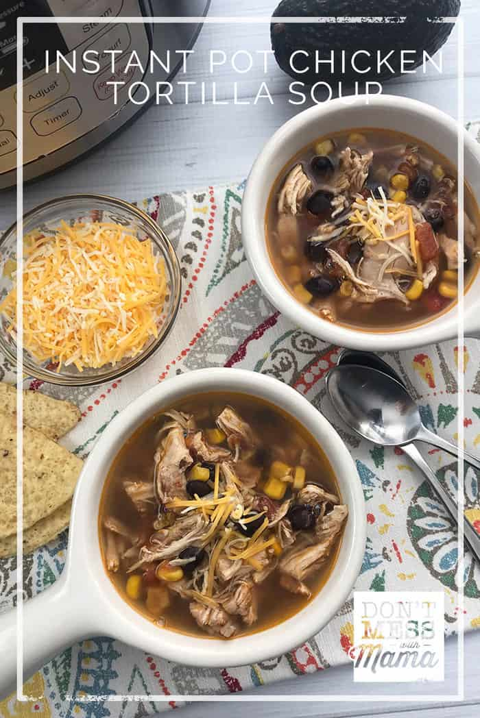 This nourishing and comforting Chicken Tortilla Soup is the perfect busy, weekday night meal the whole family will love. Set up a fixing bar with sour cream, cilantro, shredded cheese, avocados, and tortilla chips so everyone can customize their bowl.   Healthy Soup   Chicken Soup   Tortilla Soup   #chicken #soup #tortilla via @dontmesswithmom