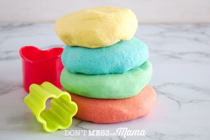 stack of colored homemade playdough