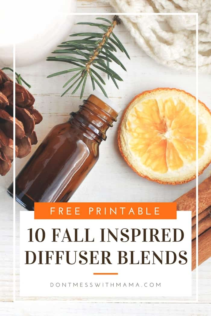 A graphic for 10 fall inspired diffuser blends
