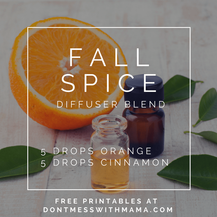 A graphic for a fall spirit diffuser blend recipe