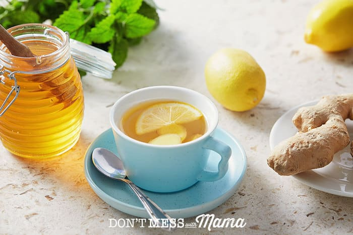 Cup of tea with lemon honey ginger