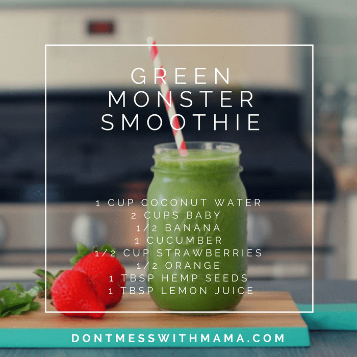 A green monster smoothie graphic with the ingredients list