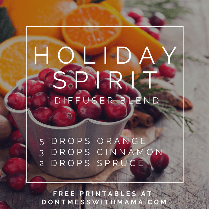 A graphic for a holiday spirit diffuser blend recipe