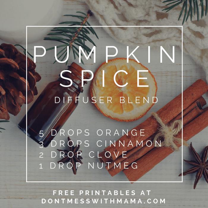 A graphic for a pumpkin spice diffuser blend recipe