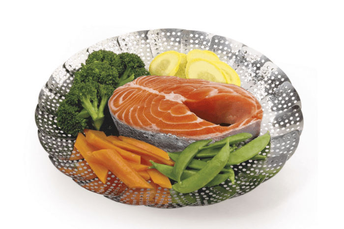 Steamer with salmon and veggies