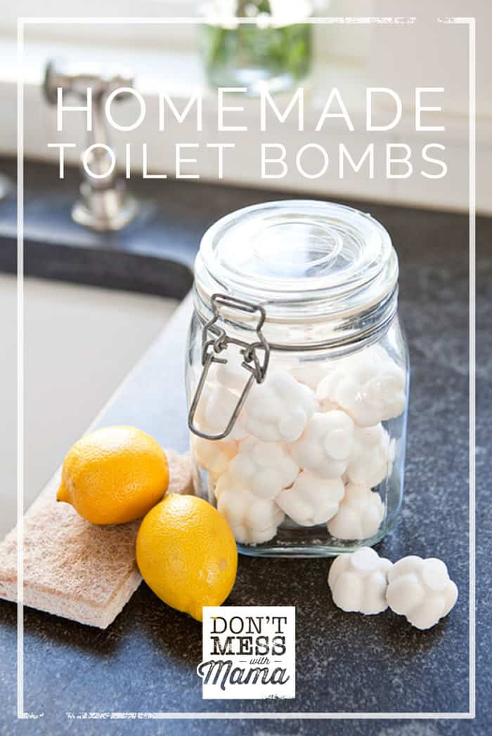Ditch that toxic toilet bowl cleaner under your sink and make these easy Homemade Toilet Bomb Fizzies that naturally clean and deodorize. #naturalhome #diy #toiletbomb #dontmesswithmama