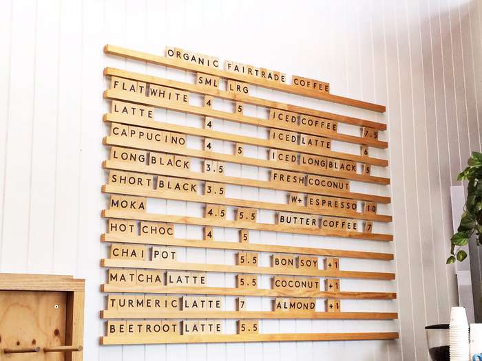 wooden menu board in a coffee shop