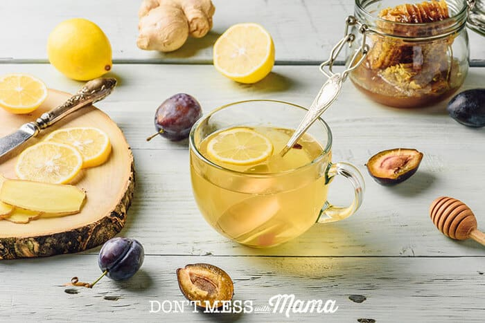 Lemons, ginger, honey and hot cup of tea