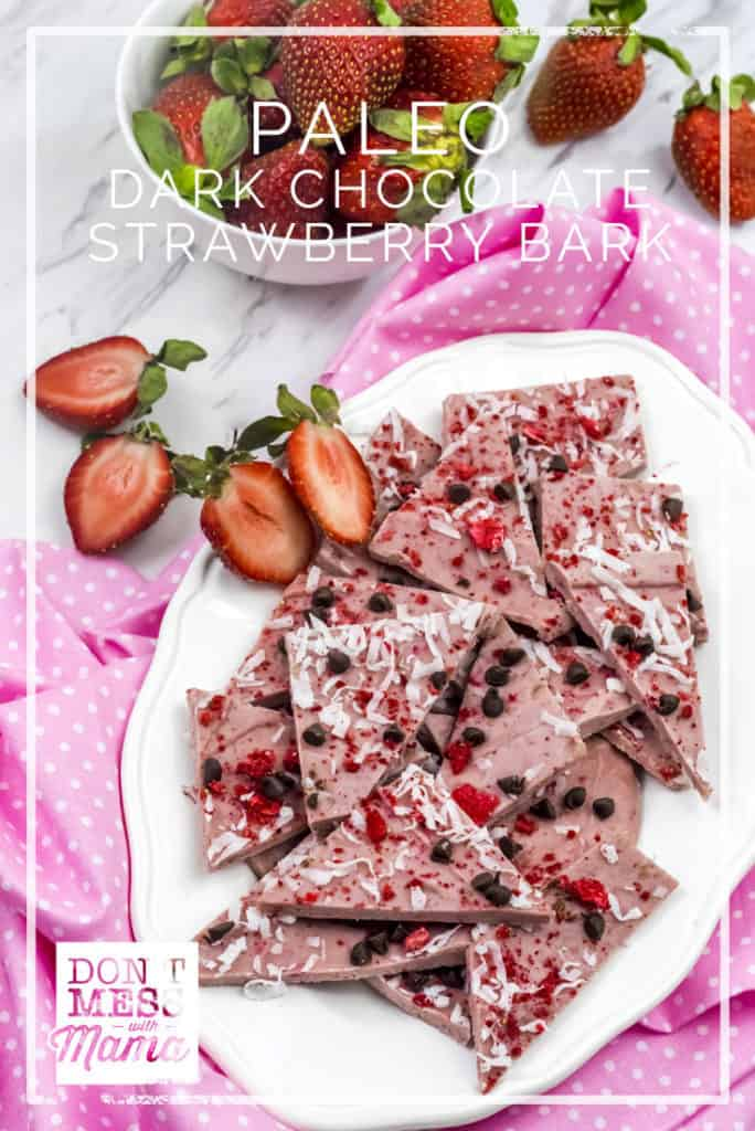 Paleo Dark Chocolate Strawberry Bark - delicious, healthy treat made with real food ingredients - DontMesswithMama.com
