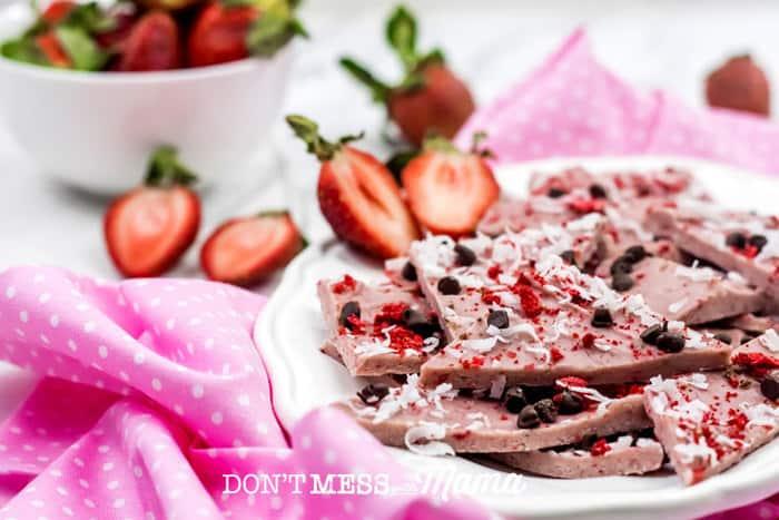 Paleo Dark Chocolate Strawberry Bark (Gluten-Free + Vegan)