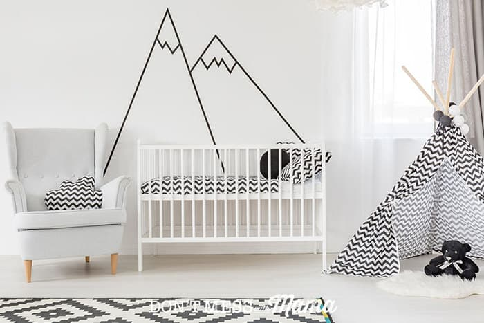 Room for baby decorated with minimal furniture