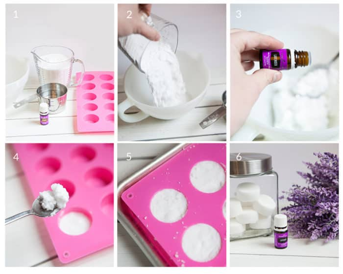 Step by step tutorial on how to make DIY lavender shower melts