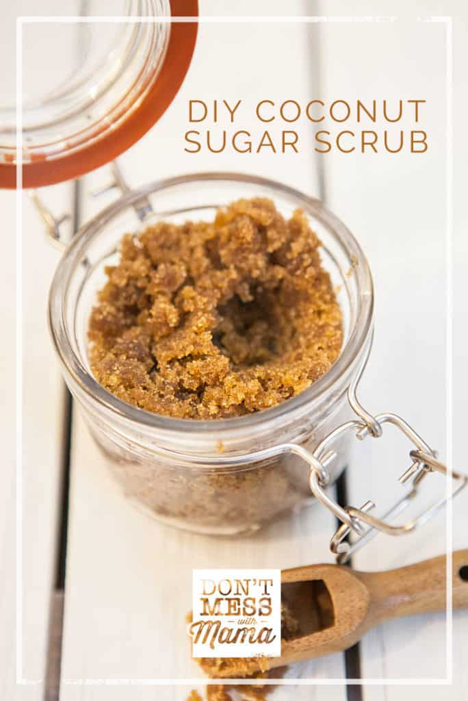 DIY Coconut Brown Sugar Scrub - just 2 ingredients and so easy to make for spa at home - DontMesswithMama.com