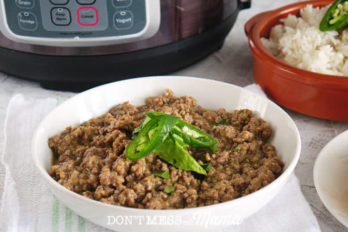 Instant Pot Taco Meat on a plate in lettuce wrap