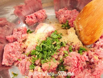 ground beef and seasoning in a pan