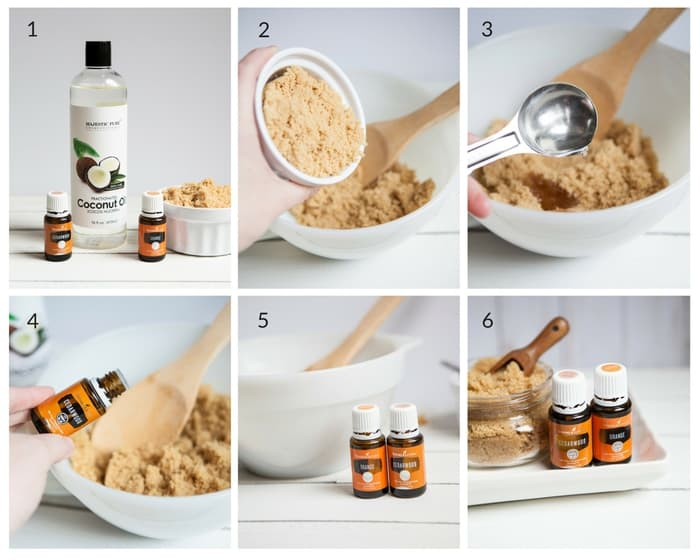 collage of how to make this homemade body scrub with just four ingredients - DontMesswithMama.com