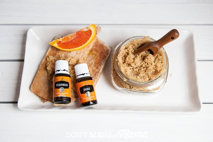 DIY Orange Cedarwood Sugar Scrub in jar