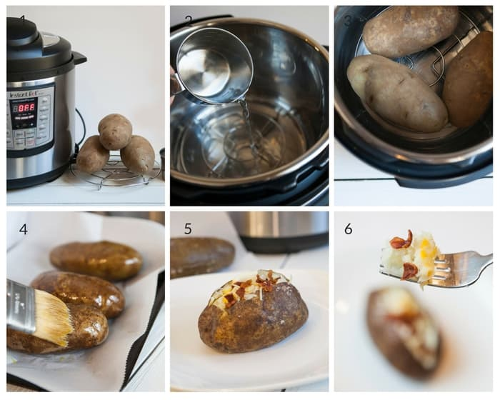 A collage photo for how to make Instant Pot Baked Potatoes