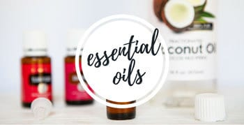 Photo of essential oils and coconut oil with a link to essential oil posts on the blog