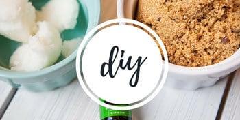 Photo of DIY sugar scrub with a link to DIY tutorials on the blog