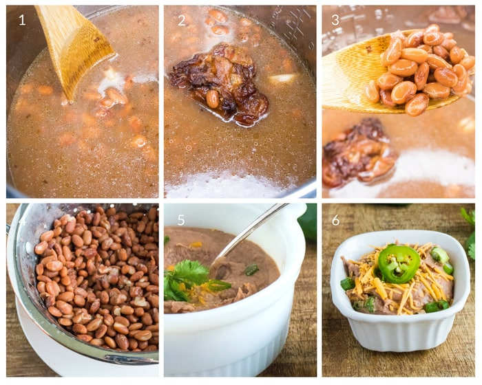 Step by step tutorial on how to make refried beans in the Instant Pot
