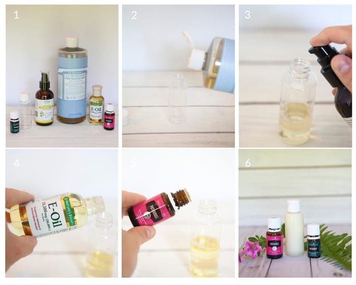Step by step tutorial on how to make a homemade body wash