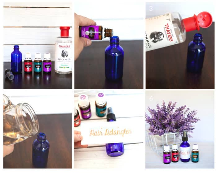 Step by step tutorial on how to make DIY hair detangler spray