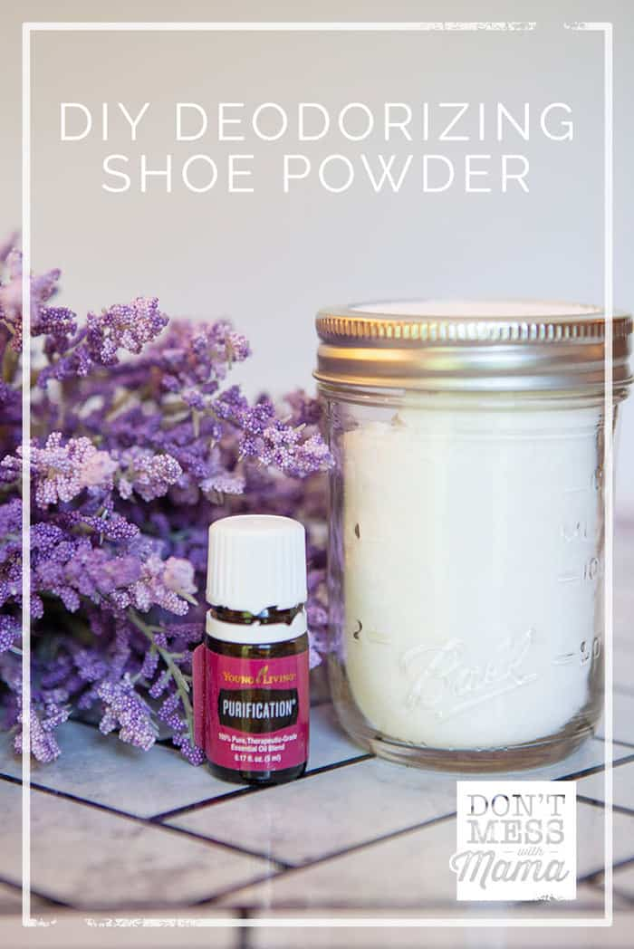 Got stinky shoes? Deodorize them and make them smell fresh and clean with this DIY Shoe Powder. It's so easy to make and made with all-natural ingredients.