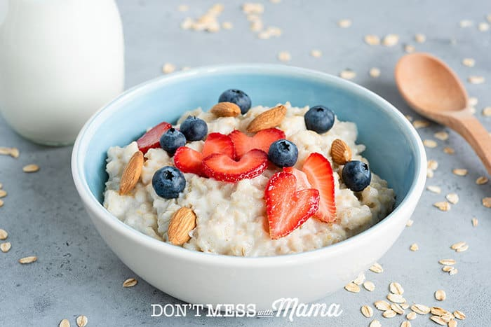 Closeup of bowl of oatmeal with berries and nuts