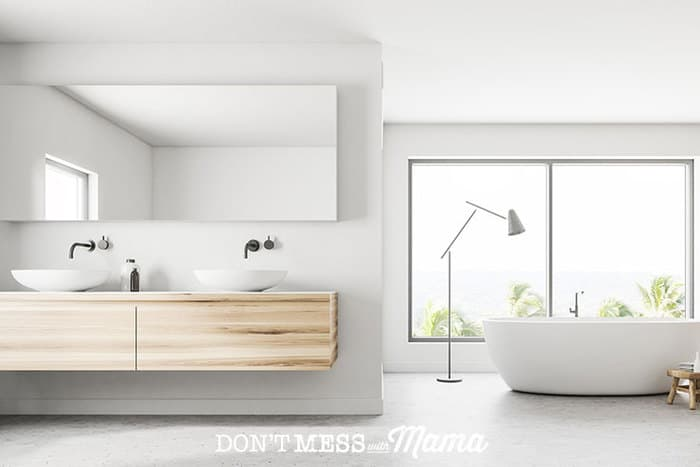 a large modern white bathroom