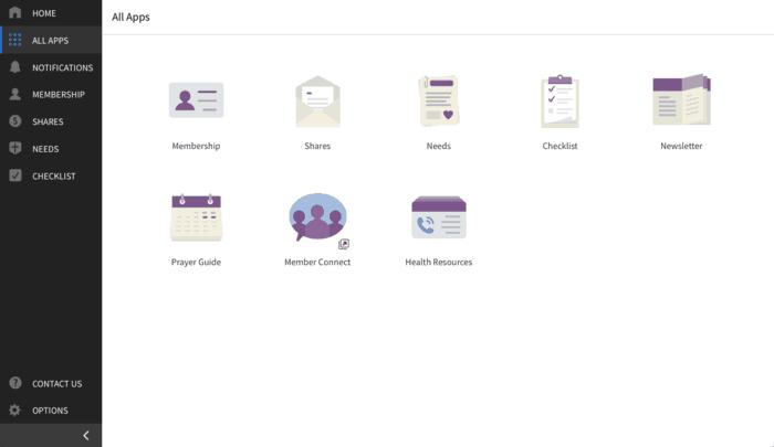 Screenshot of the member website for Samaritan Ministries