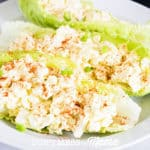 egg salad in lettuce wraps on a plate