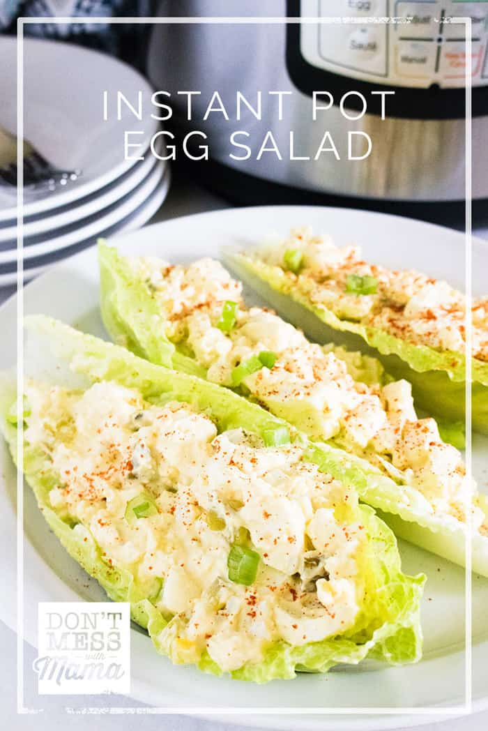 Love egg salad? Try this Instant Pot Egg Salad recipe that makes peeling those egg shells so easy. Enjoy it with gluten-free bread or low-carb lettuce cups. @dontmesswithmama #eggsalad #glutenfree #lunch