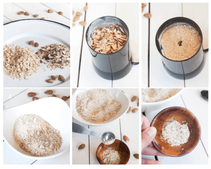 Step by step tutorial on how to make an exfoliating facial scrub with oatmeal and almonds