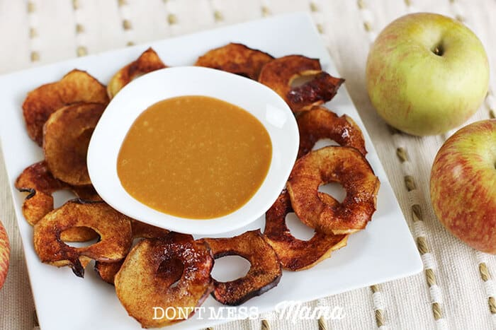 Closeup of air fryer apple chips on a plate
