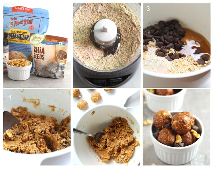 Process shots to show how to make Peanut Butter Protein Bites
