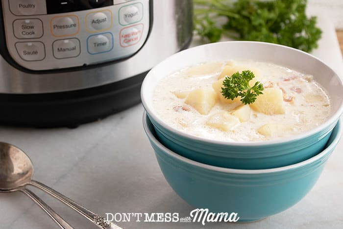 Instant Pot Clam Chowder (Gluten Free) - Don't Mess with Mama
